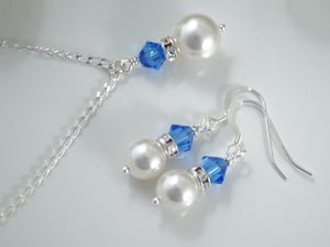 Sapphire Blue and White Pearl Necklace and Earrings Sets for Bridesmaids - Clairesbridal - 1