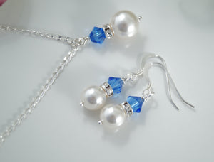 Sapphire Blue and White Pearl Necklace and Earrings Sets for Bridesmaids - Clairesbridal - 2