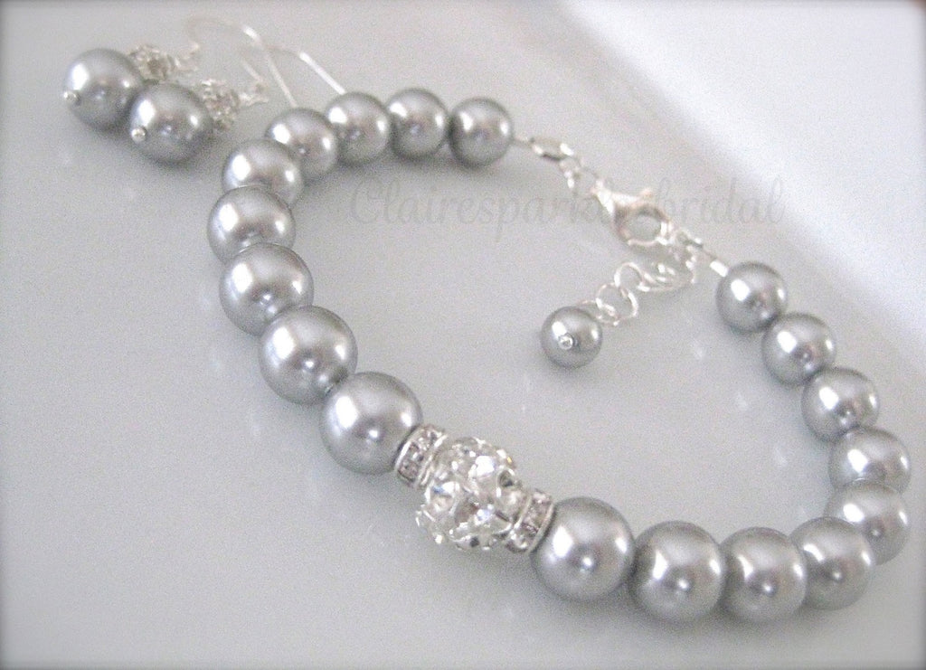 Grey Pearl Bridesmaid Jewelry Bracelet and Earrings Sets - Clairesbridal - 1