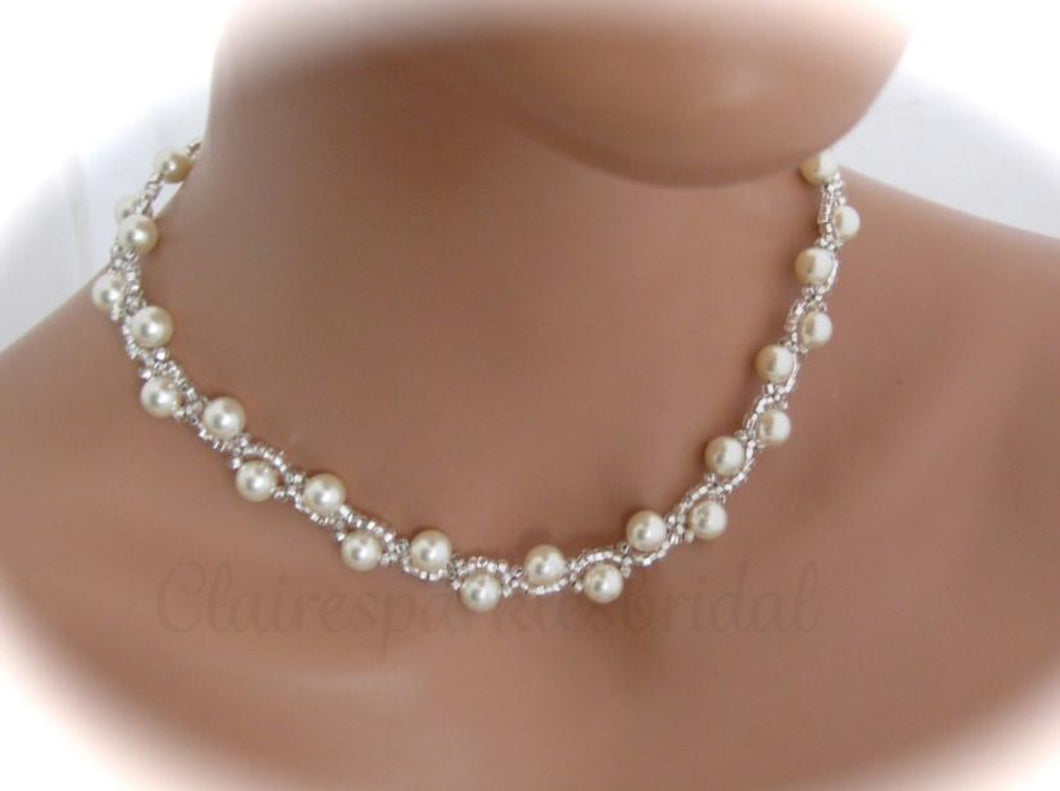 Wedding Jewelry | Bridal Necklace | Pearl Jewelry - Clairesbridal - 1