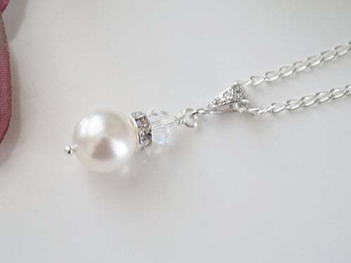 Bridal Pearl Drop Necklace - Clairesbridal - 1