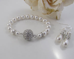 Wedding Pearl Bracelet and Earring Set - Clairesbridal - 5