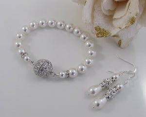 Wedding Pearl Bracelet and Earring Set - Clairesbridal - 3
