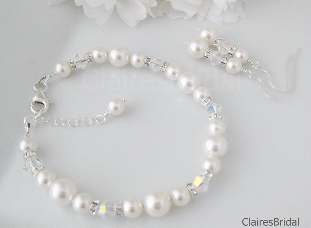 Bridal Pearl Bracelet and Earrings For Wedding - Clairesbridal - 1