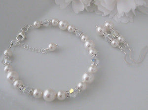 Bridal Pearl Bracelet and Earrings For Wedding - Clairesbridal - 2