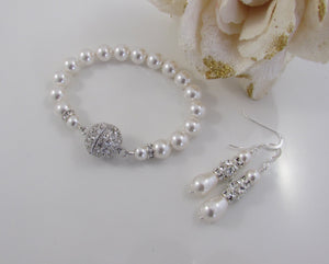 Wedding Pearl Bracelet and Earring Set - Clairesbridal - 4
