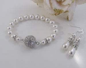 Wedding Pearl Bracelet and Earring Set - Clairesbridal - 2