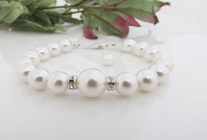 White Pearl Bracelet Bridal Jewelry