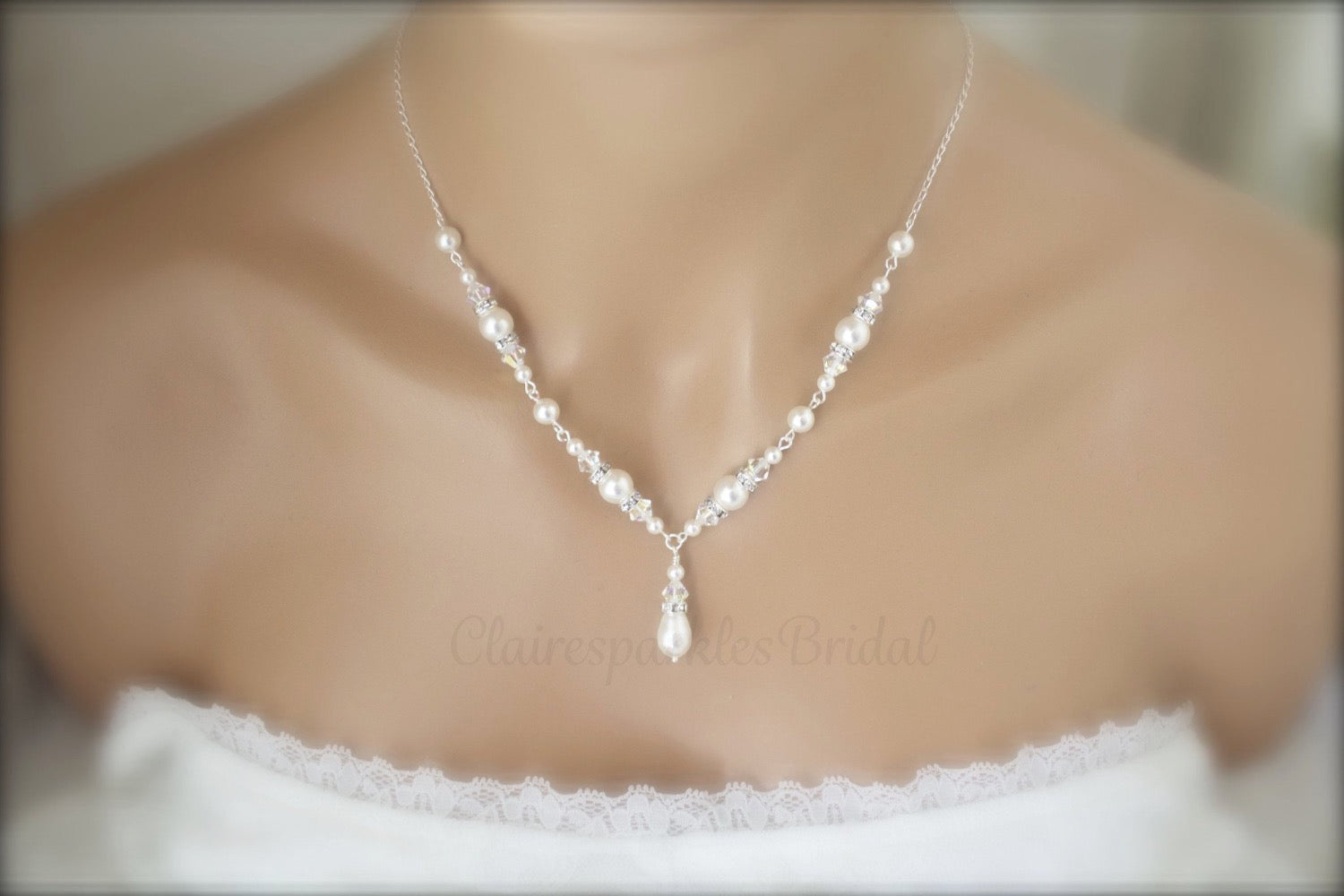 Pearl Necklace, Bracelet and Earring Sets for Brides - Clairesbridal - 2