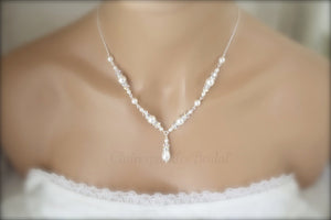 Ivory Pearl Necklace, Bracelet and Earring Set for Brides - Clairesbridal - 1