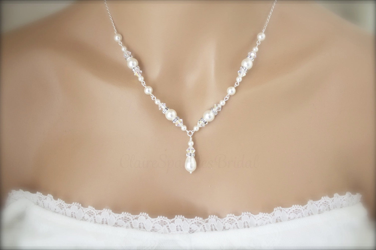 Pearl Necklace, Bracelet and Earring Sets for Brides - Clairesbridal - 4