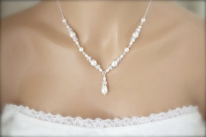 Ivory Pearl Necklace, Bracelet and Earring Set for Brides - Clairesbridal - 7