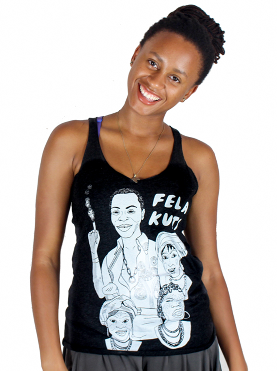 Fela Kuti Puff Puff Pass Racerback Tank Top (Black / Purple)
