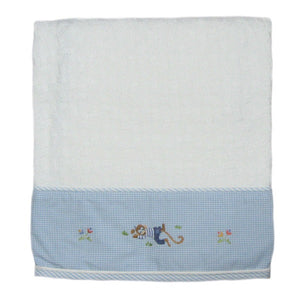 sleeping monkey baby blanket with blue trim