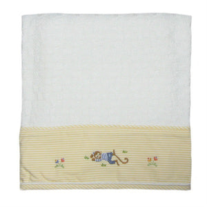 sleeping monkey baby blanket with yellow trim