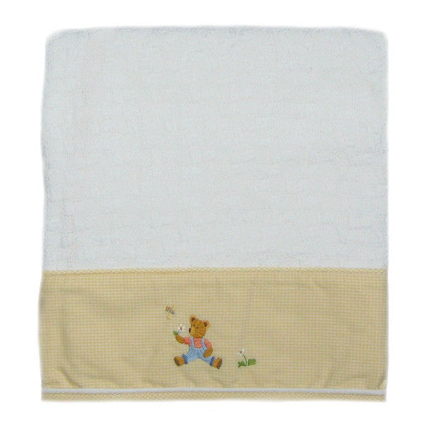 nursery time baby blanket with yellow trim