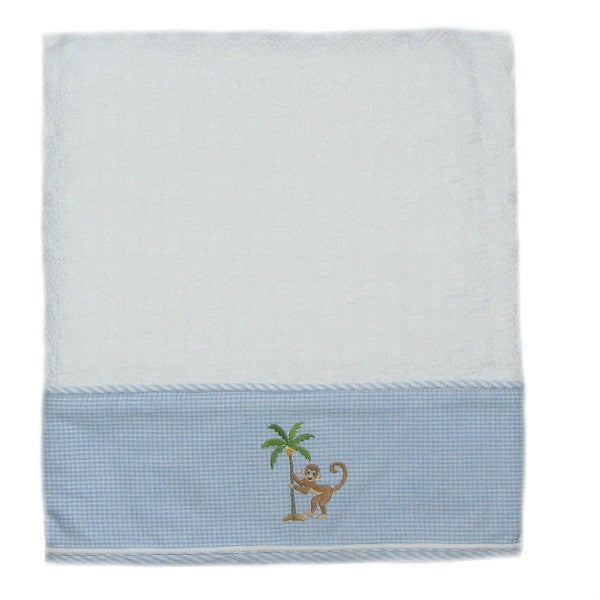 on safari baby blanket with blue trim