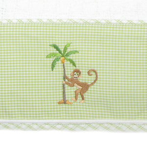 on safari baby blanket with green trim