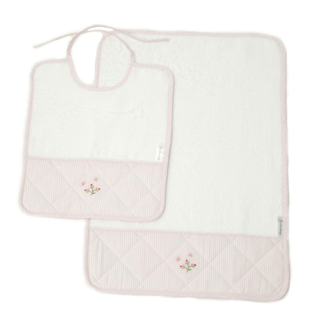 bib and burp set rosebud