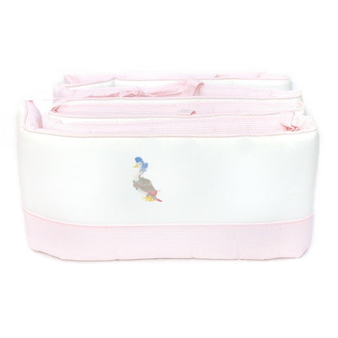 white jemima puddle duck crib bumper with pink gingham trim