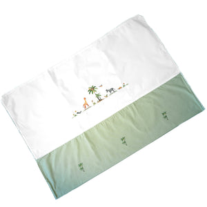 crib duvet cover on safari green