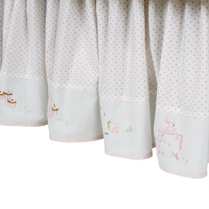 pink bunny tea party crib dust ruffle