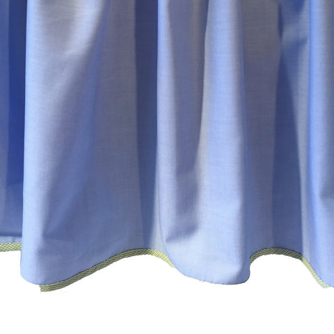 blue crib dust ruffle with green trim