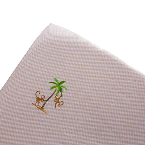 beige on safari fitted crib sheet