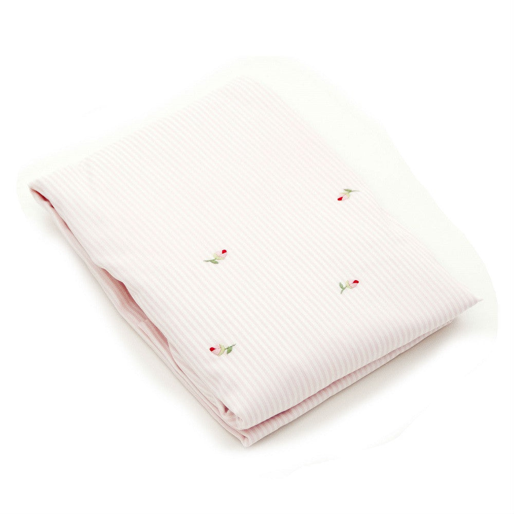 pink rosebud fitted crib sheet