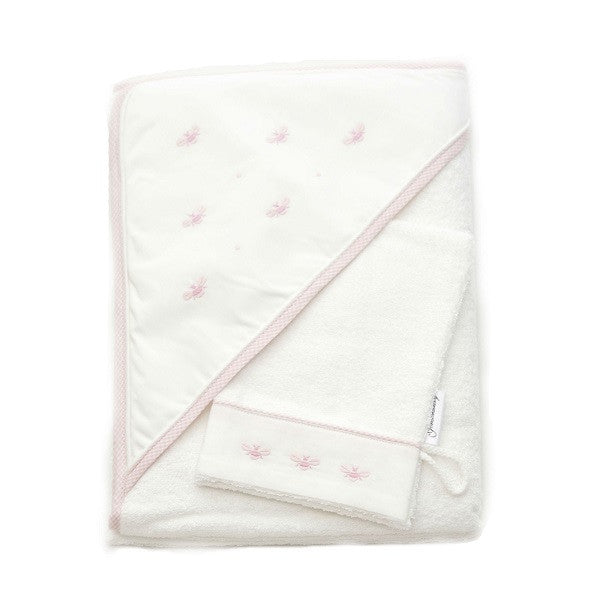 hooded towel baby bee pink