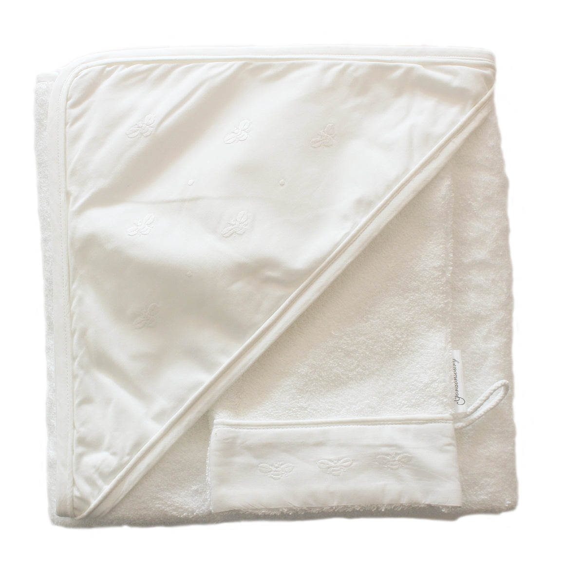 hooded towel baby bee white