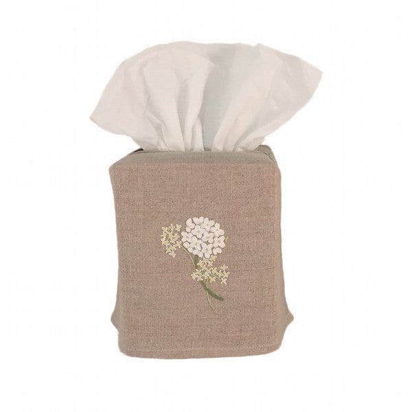 linen tissue box cover - natural hydrangea