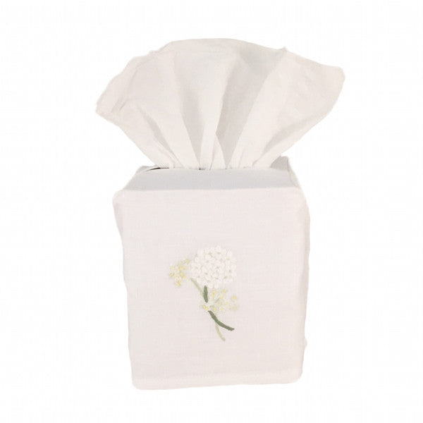 linen tissue box cover - white hydrangea
