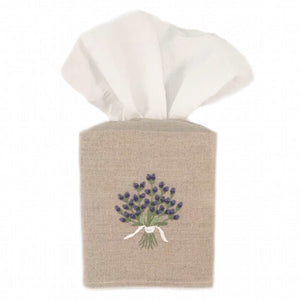 linen tissue box cover - natural lavender