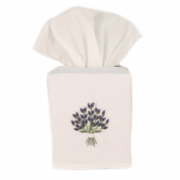linen tissue box cover - white lavender