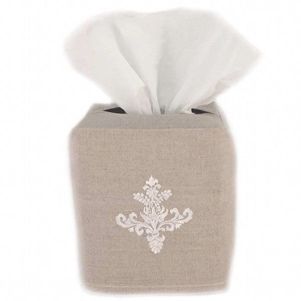 linen tissue box cover - natural ornament