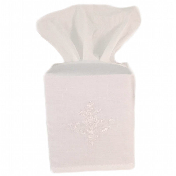 linen tissue box cover - white ornament