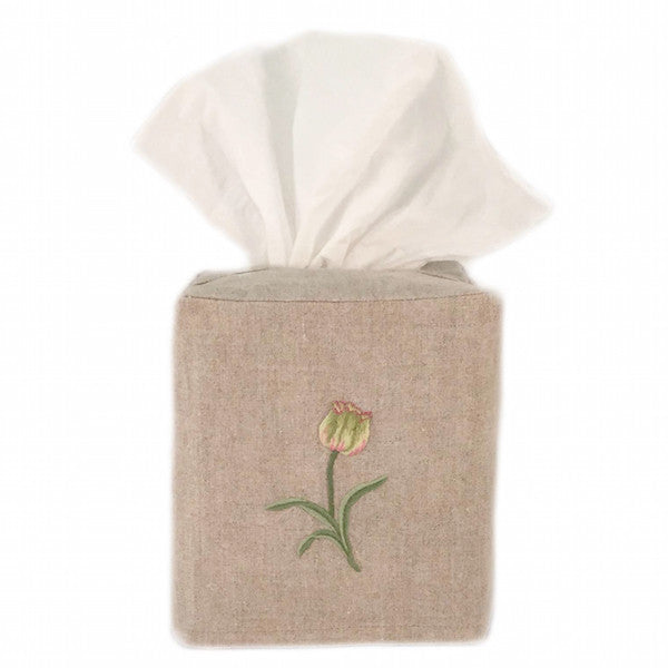 linen tissue box cover - natural tulip