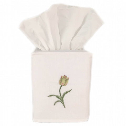 linen tissue box cover - white tulip