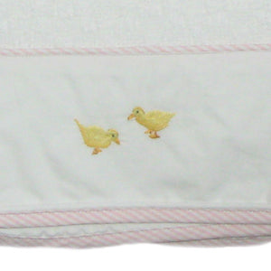 little chicks baby blanket with pink trim