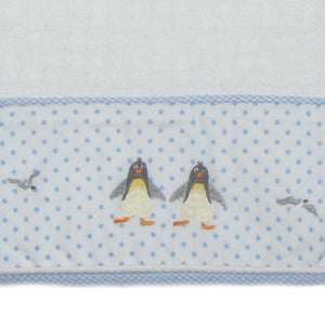 penguin beach party baby blanket with blue trim