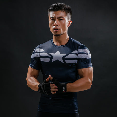 Captain America Star Compression Shirt - Fitness Elephants