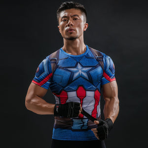 Captain America Compression Shirt - Fitness Elephants