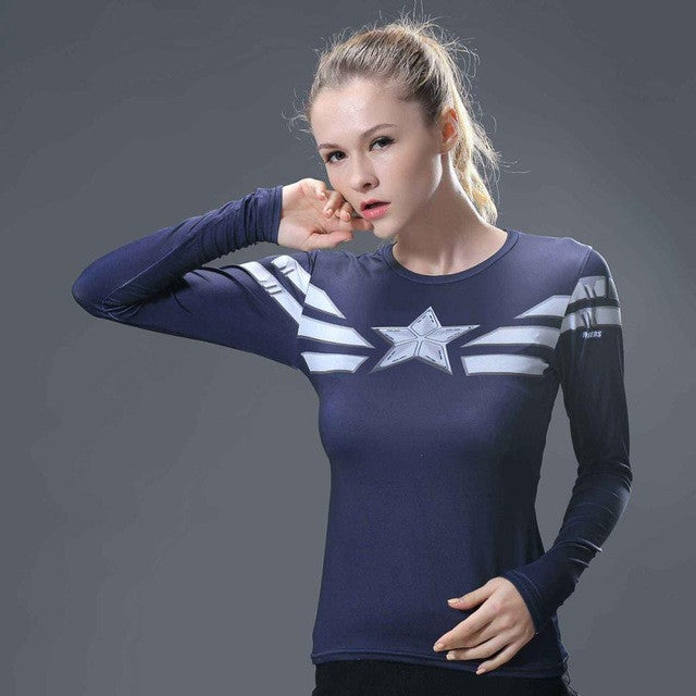 Captain America Compression Longsleeve - Fitness Elephants
