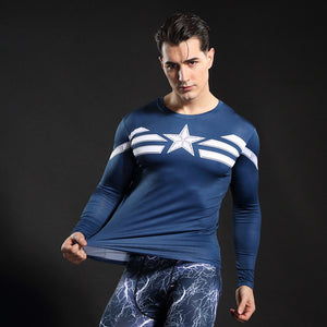 Captain America Longsleeve Compression Shirt - Fitness Elephants
