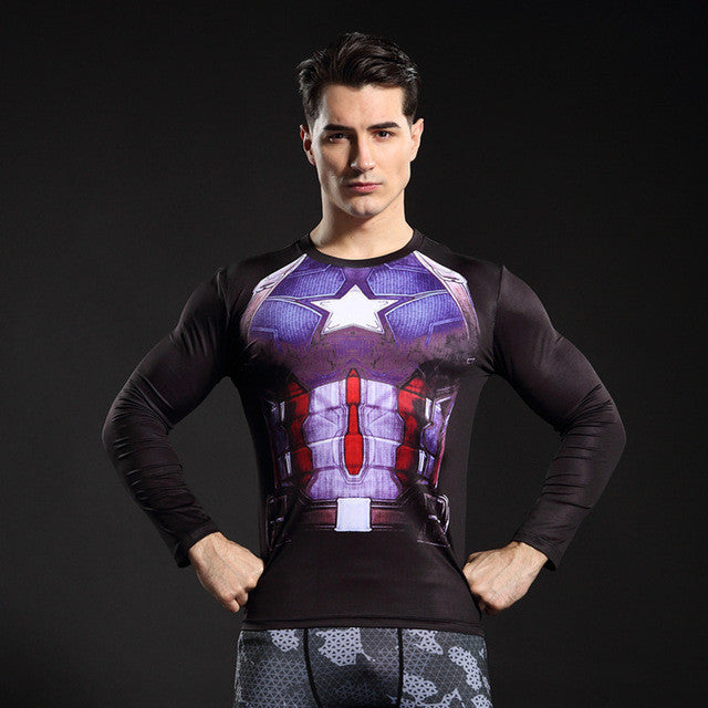 Captain America Black Longsleeve Compression Shirt