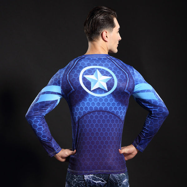 Blue Captain America Longsleeve Compression Shirt - Fitness Elephants