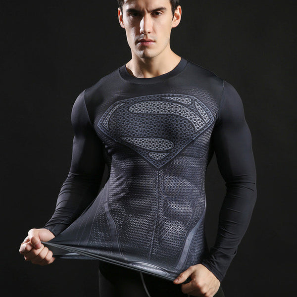 Superman Black Compression Shirt - Fitness Elephants