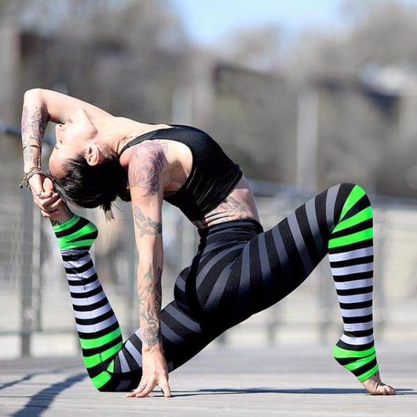 Striped Tights Leggings - Fitness Elephants
