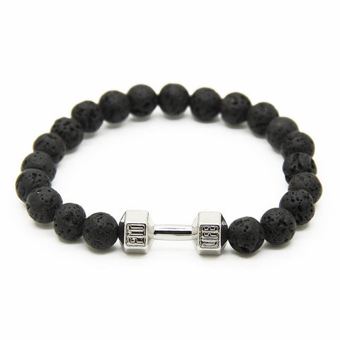 Dumbbell Lava Stones Bracelet - Fitness Elephants